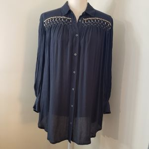 Floreat anthropologie top beaded small petite